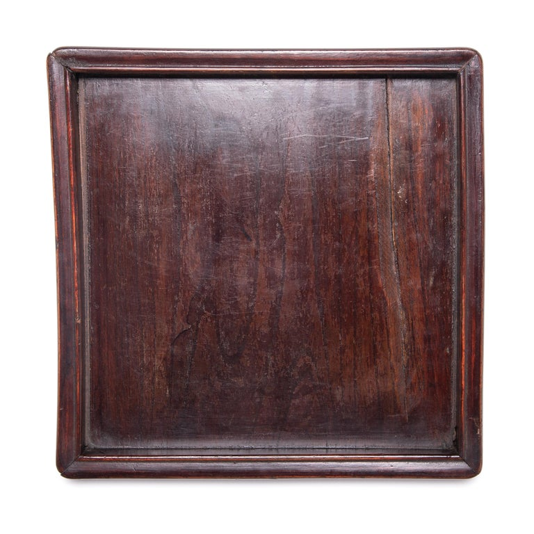 Elm Early 20th Century Chinese Tray with Ridged Edges For Sale