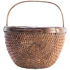 Early 20th Century Chinese Willow Market Basket