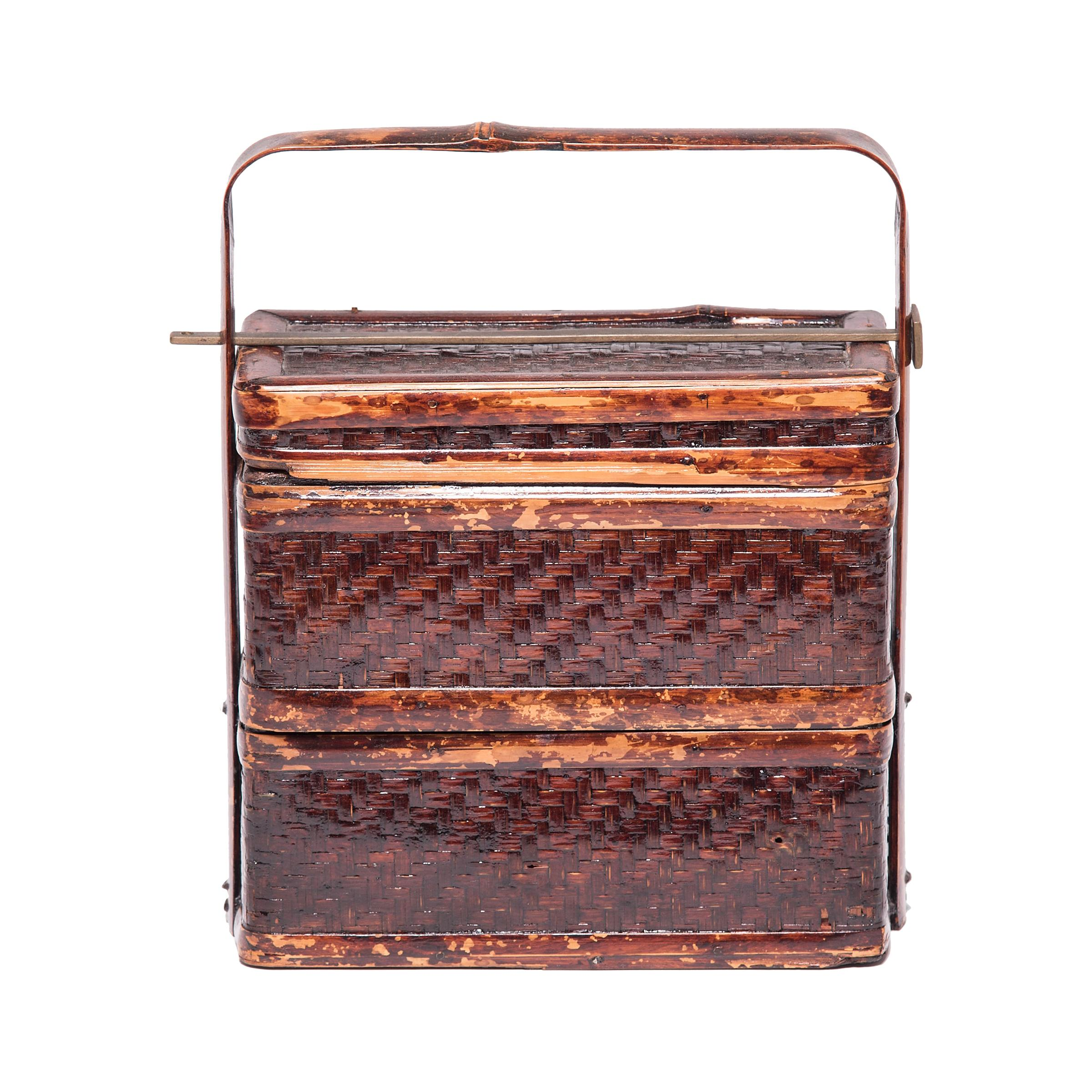 Early 20th Century Chinese Woven Bamboo Stacking Box