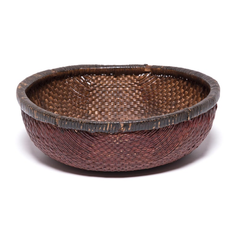 Hand-Woven Early 20th Century Chinese Woven Field Basket For Sale