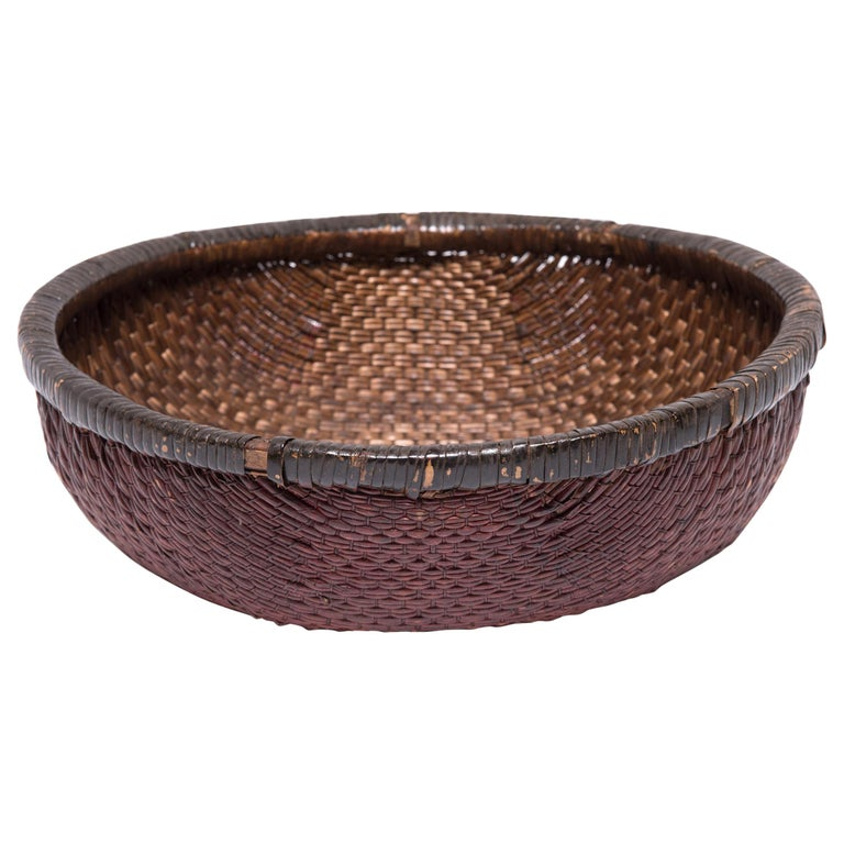 Early 20th Century Chinese Woven Field Basket For Sale