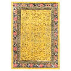 Early 20th Century Chinese Yellow, Pink, Blue and Brown Handmade Silk Rug