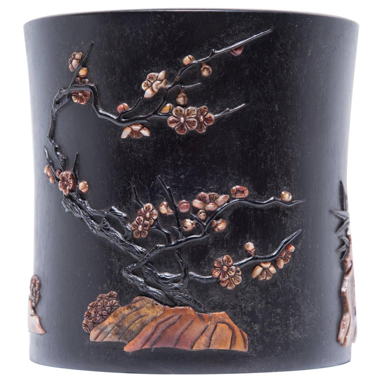 Early 20th Century Chinese Zitan Brush Pot For Sale