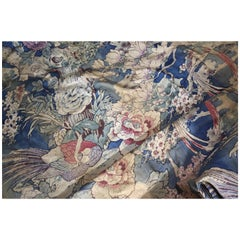Early 20th Century Chinoiserie Country House Faded Blue Curtains Textiles Fabric