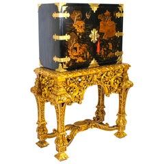 Early 20th Century Chinoiserie Lacquer Cabinet Giltwood Stand Fitted Interior