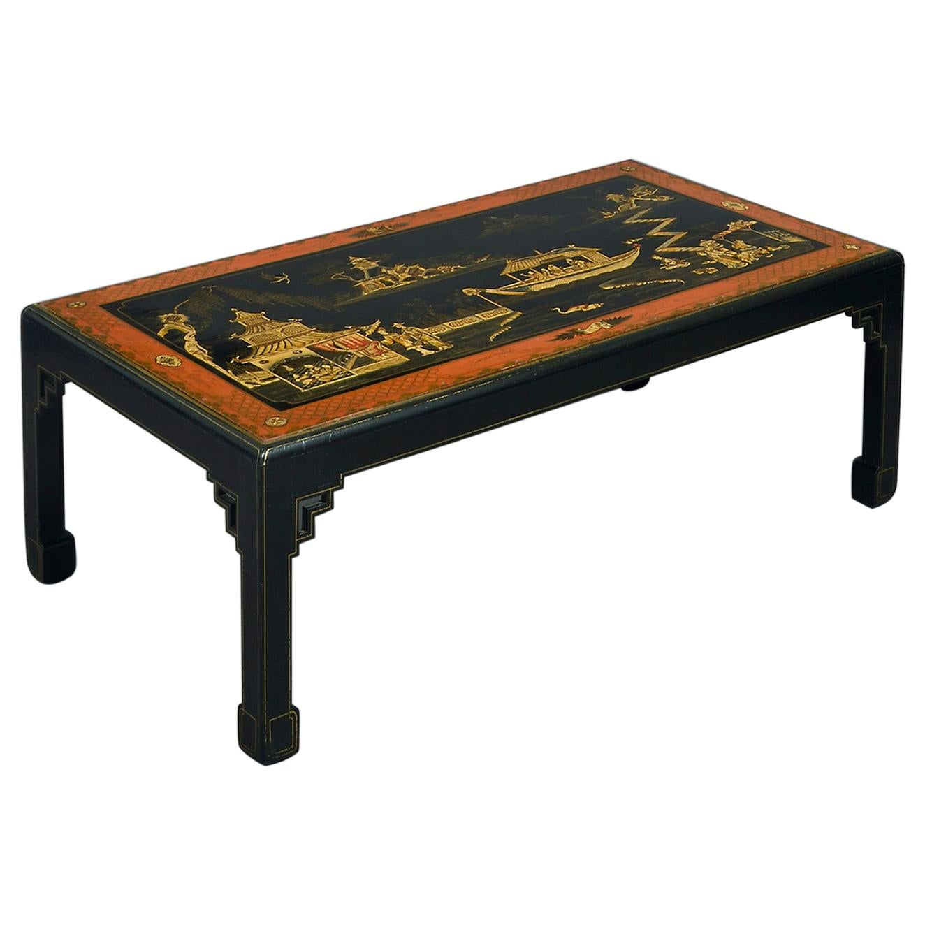 Early 20th Century Chinoiserie Lacquer Coffee Table or Low Table
