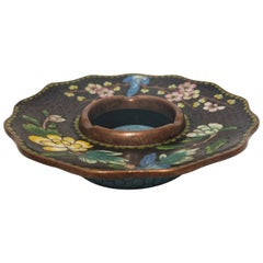 Early 20th Century Chinoserie Style Ceramic and Glass on Brass Chinese Ashtray
