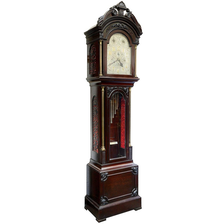 Early 20th Century Chippendale Style Musical Longcase Clock