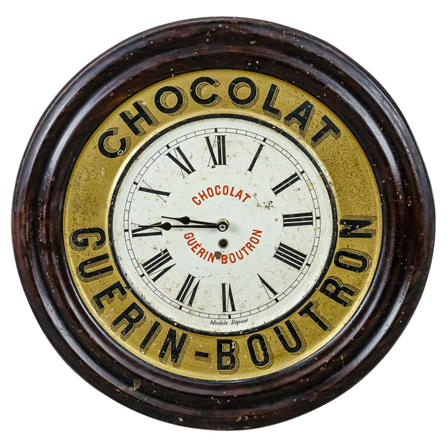 Early 20th Century Chocolat Guerin Boutron Advertising Clock