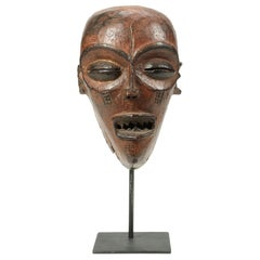 Early 20th Century Chokwe Wood Mask, Strong Features on Custom Base, Congo