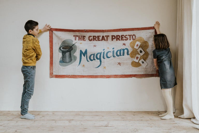 For magician and circus lovers. This early 20th century circus banner. Hand painted on canvas.