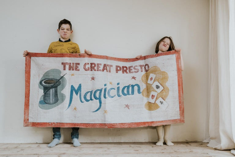 Hand-Painted Early 20th Century Circus Banner For Sale