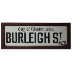 Early 20th Century City of Westminster London Milk Glass Street Sign