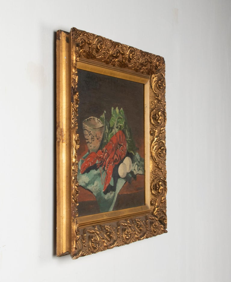 Early 20th Century Classic Oil Painting by W. Roelant Still Life Lobster For Sale 5
