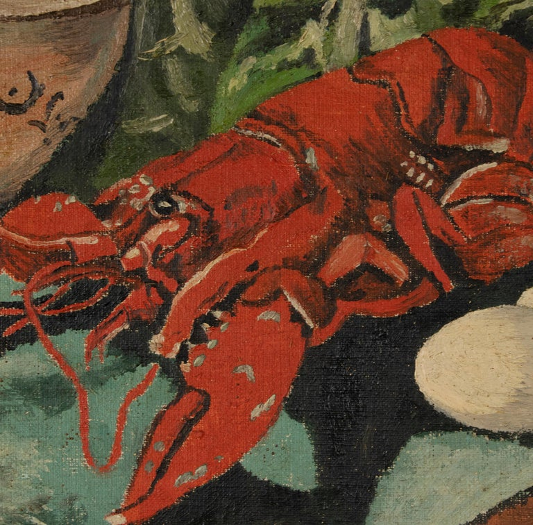 Early 20th Century Classic Oil Painting by W. Roelant Still Life Lobster For Sale 7