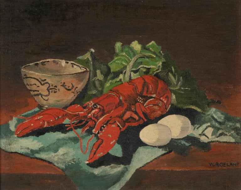 Romantic Early 20th Century Classic Oil Painting by W. Roelant Still Life Lobster For Sale