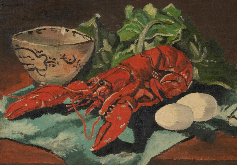 Hand-Painted Early 20th Century Classic Oil Painting by W. Roelant Still Life Lobster For Sale