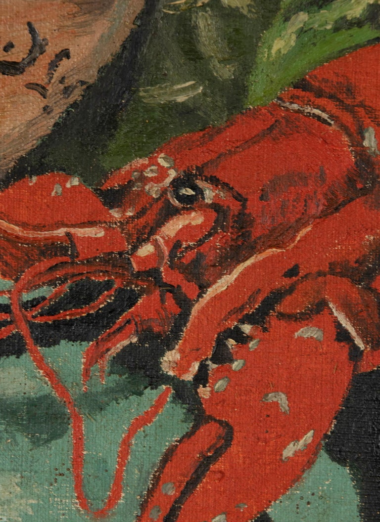 Early 20th Century Classic Oil Painting by W. Roelant Still Life Lobster In Good Condition For Sale In Casteren, Noord-Brabant
