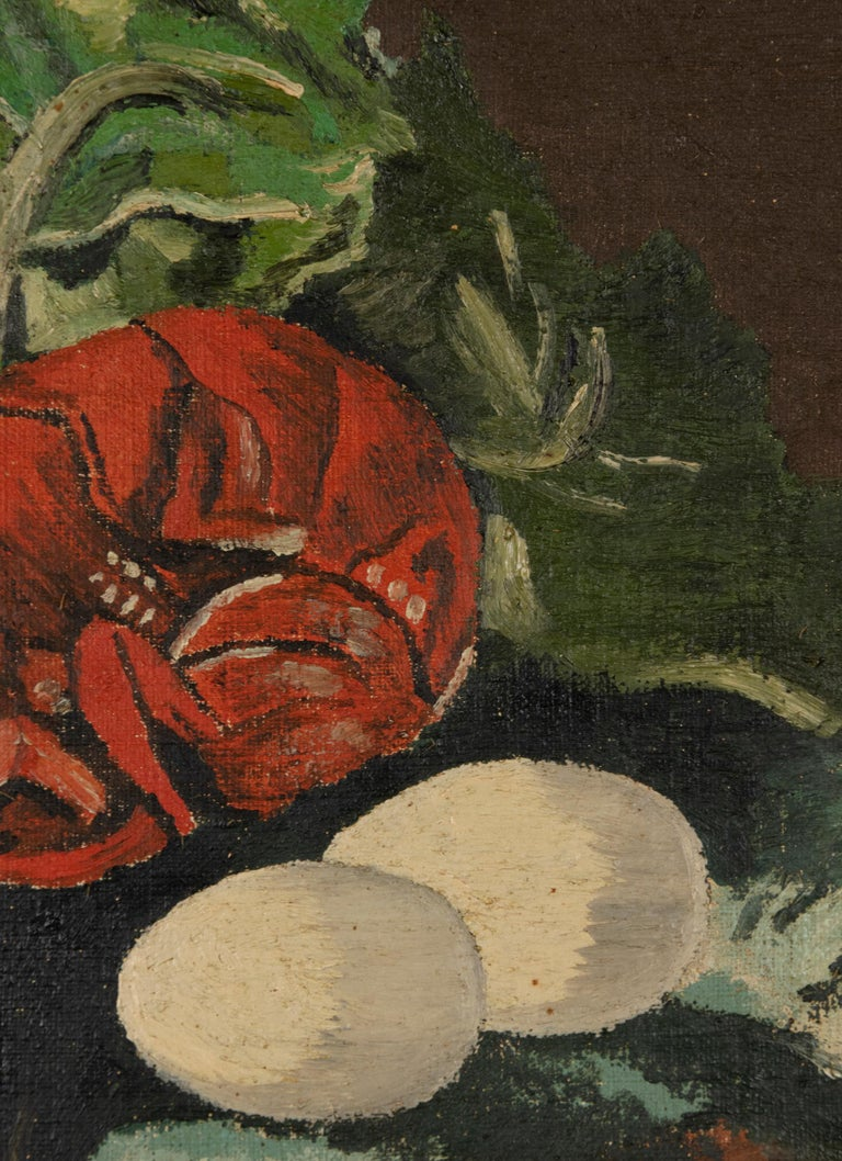 Early 20th Century Classic Oil Painting by W. Roelant Still Life Lobster For Sale 3