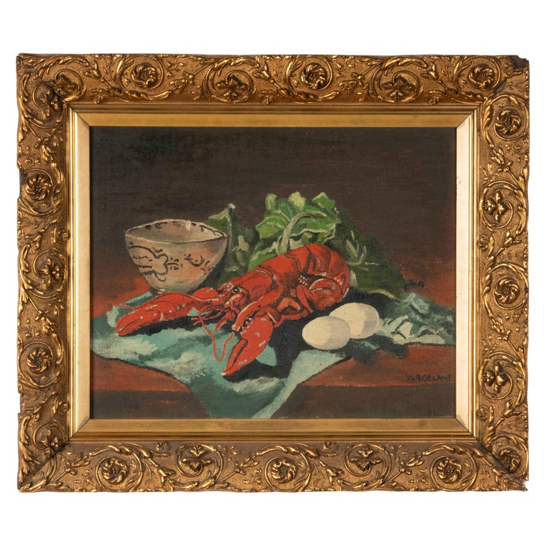 Early 20th Century Classic Oil Painting by W. Roelant Still Life Lobster For Sale