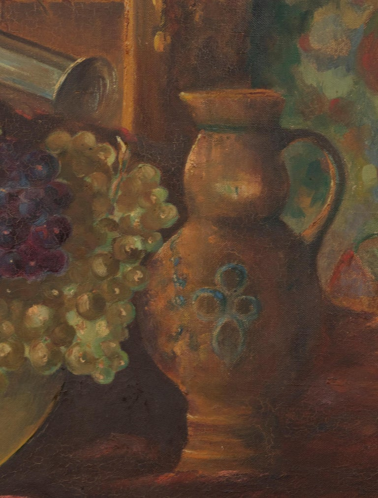 Early 20th Century Classic Oil Painting Still Life with Fruits by HJ. Janssens For Sale 4