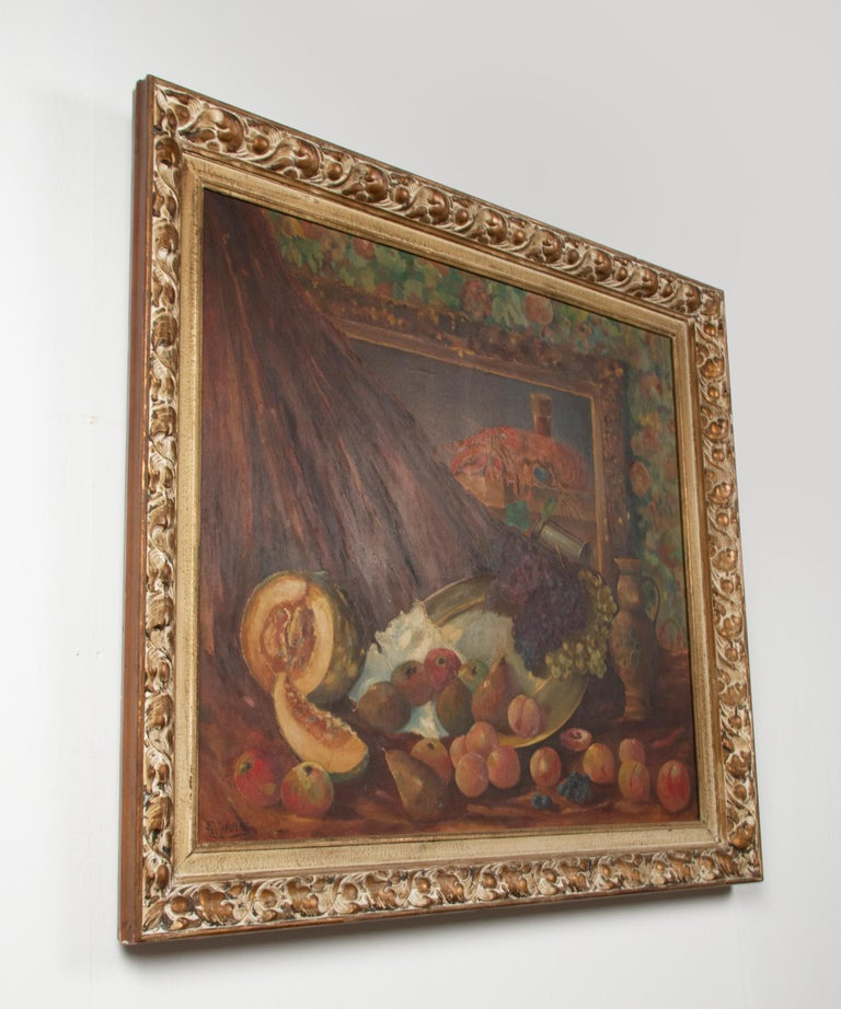 Early 20th Century Classic Oil Painting Still Life with Fruits by HJ. Janssens For Sale 7