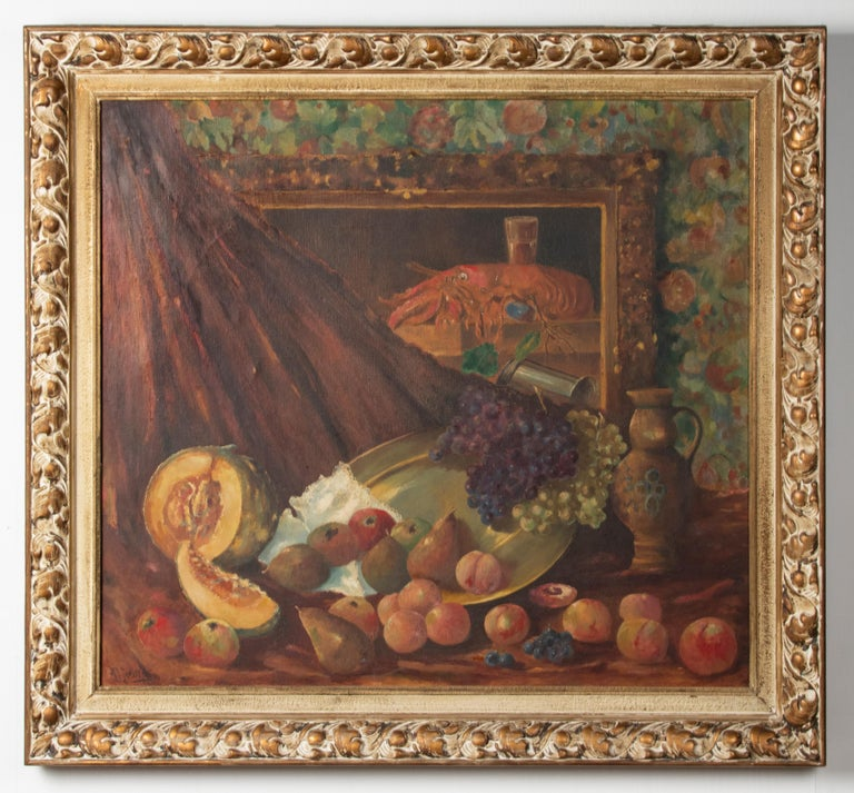 Very nice and large classic painting, a still life with many different fruits and a lobster. The lobster is depicted on a painting that falls within the scene of this painting. The painting is signed HJ Janssen and dated 1927. This is not a