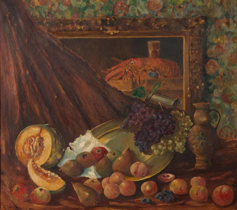 Romantic Early 20th Century Classic Oil Painting Still Life with Fruits by HJ. Janssens For Sale