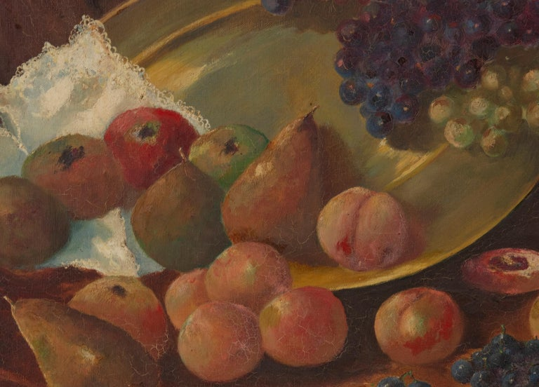 Hand-Painted Early 20th Century Classic Oil Painting Still Life with Fruits by HJ. Janssens For Sale