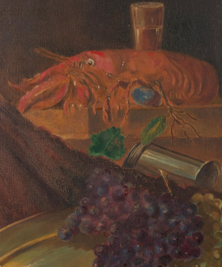 Early 20th Century Classic Oil Painting Still Life with Fruits by HJ. Janssens In Good Condition For Sale In Casteren, Noord-Brabant