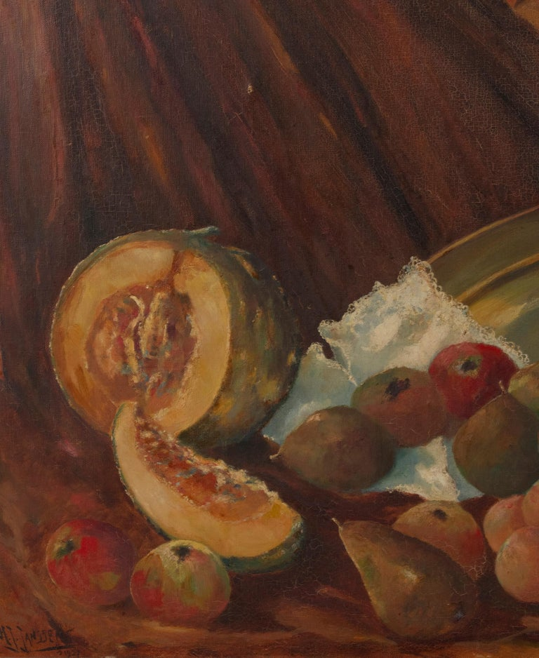 Early 20th Century Classic Oil Painting Still Life with Fruits by HJ. Janssens For Sale 1