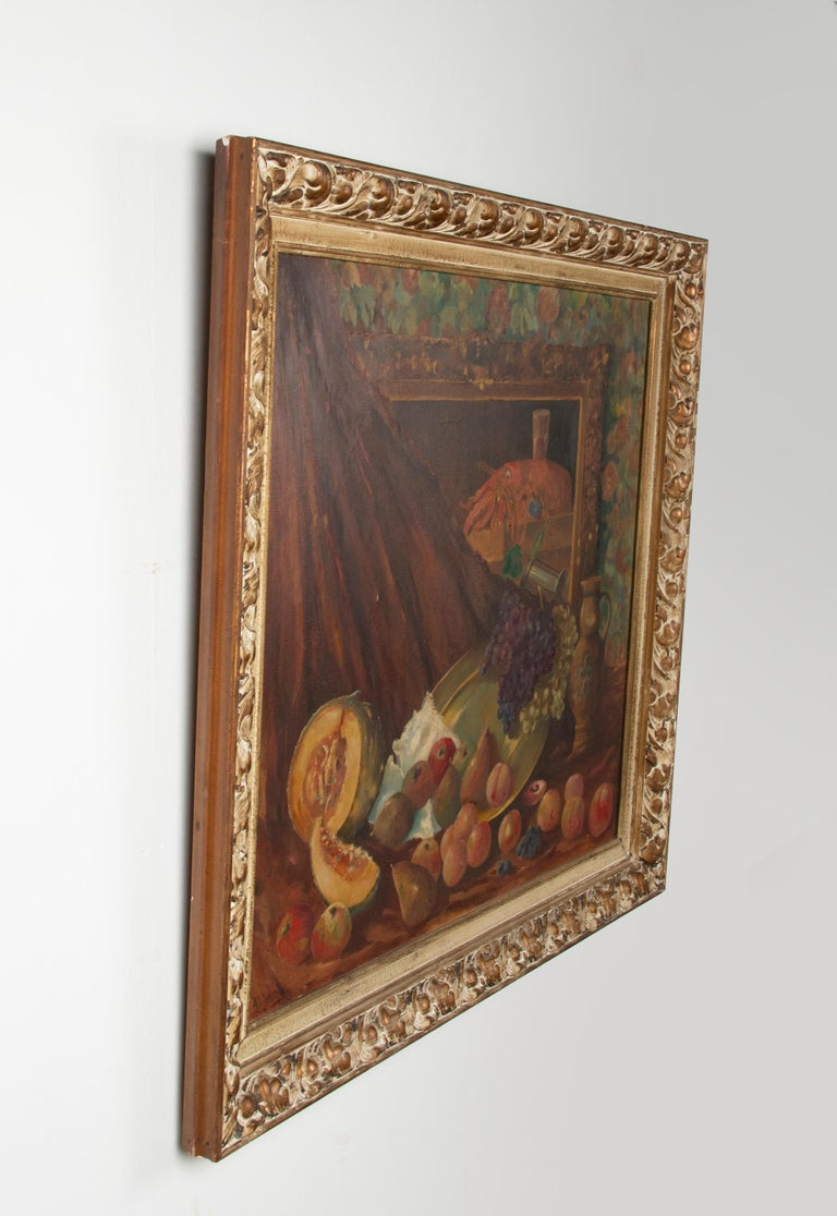 Early 20th Century Classic Oil Painting Still Life with Fruits by HJ. Janssens For Sale 3