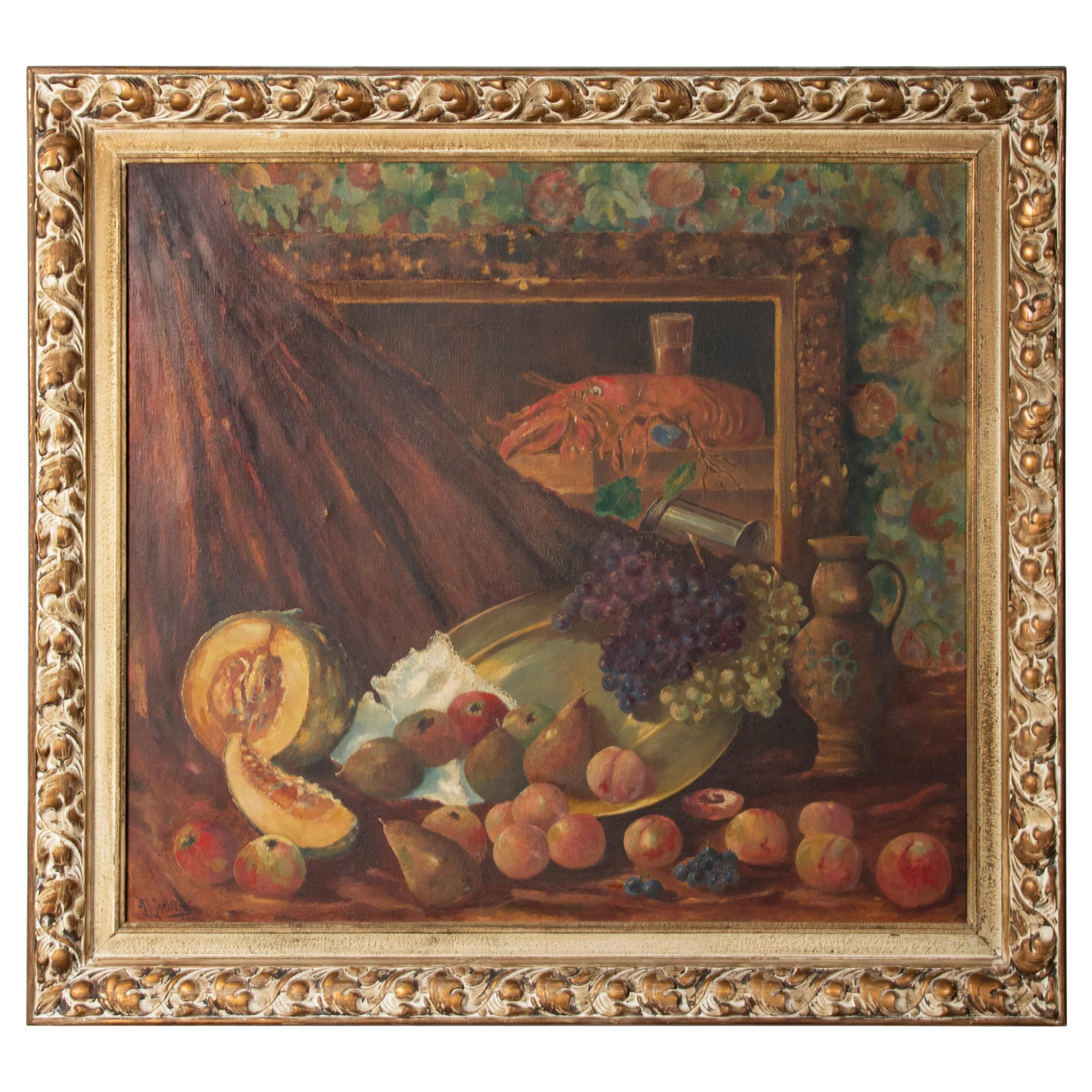 Early 20th Century Classic Oil Painting Still Life with Fruits by HJ. Janssens