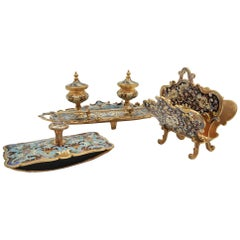 Early 20th Century Cloisonné Bronze Desk Set in Napoleon III Style