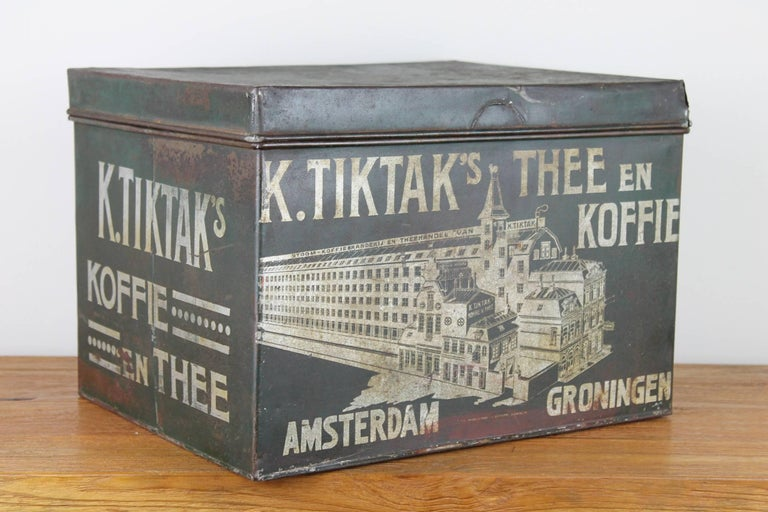 Early 20th Century Coffee and Tea Tin Box K. Tiktak's For Sale 11