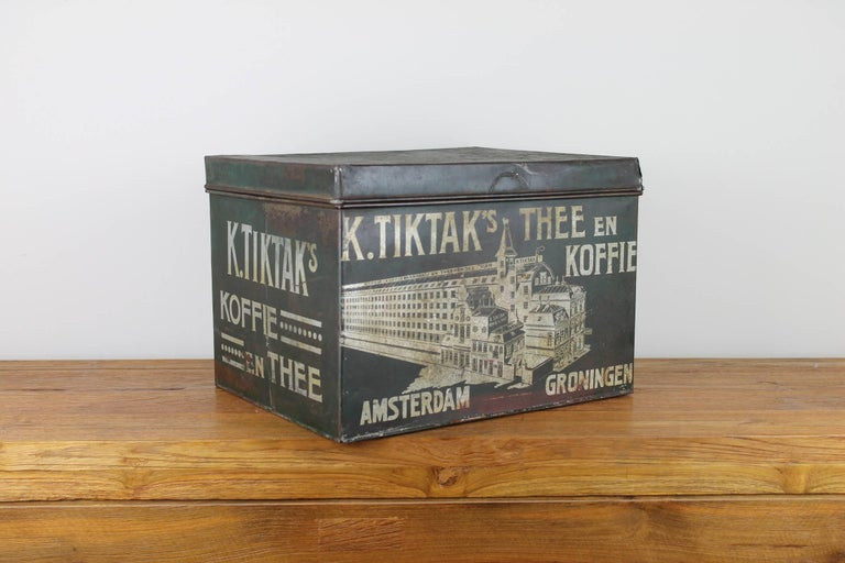 Antique dark green tin box - coffee and tea container - shop can - from the early 20th century.
