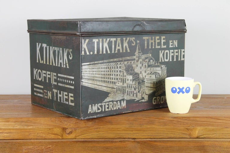 Industrial Early 20th Century Coffee and Tea Tin Box K. Tiktak's For Sale