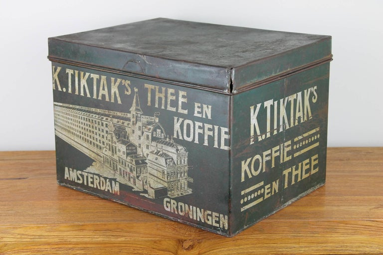 Early 20th Century Coffee and Tea Tin Box K. Tiktak's For Sale 3