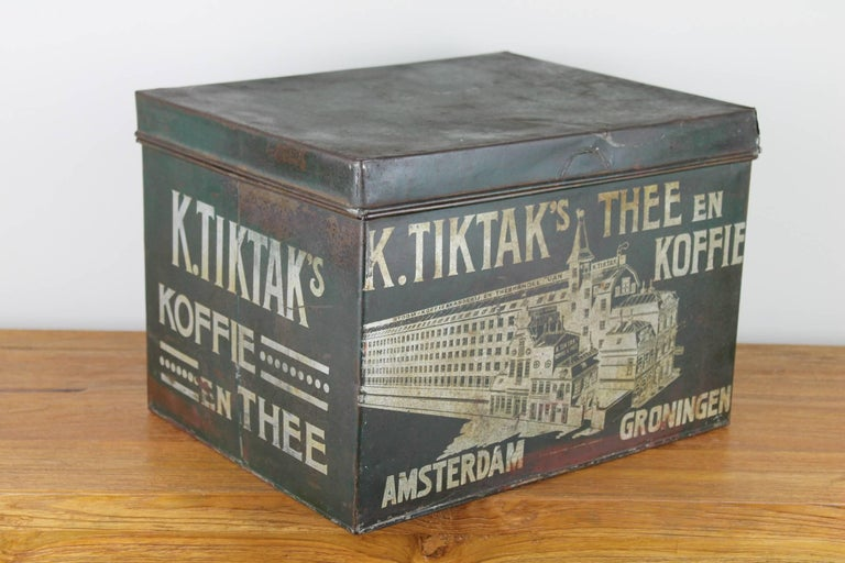 Early 20th Century Coffee and Tea Tin Box K. Tiktak's For Sale 4