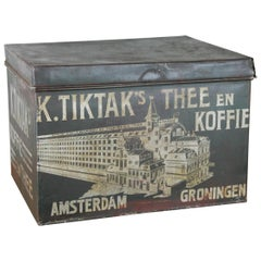 Coffee and Tea Tin for K. Tiktak's Amsterdam Groningen, Early 20th Century