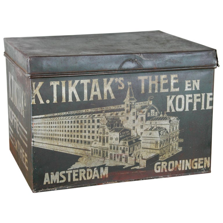 Early 20th Century Coffee and Tea Tin Box K. Tiktak's For Sale
