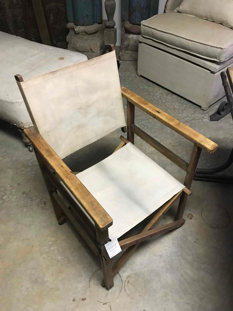 Early 20th century collapsable canvas director's chair.