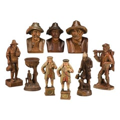 Early 20th Century Collection of Swiss Black Forest Carved Wood Figures & Busts