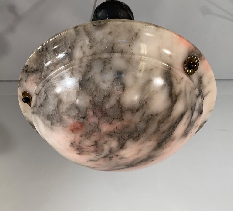 Early 20th Century & Colorful Art Deco Alabaster Pendant Light / Ceiling Fixture For Sale 9
