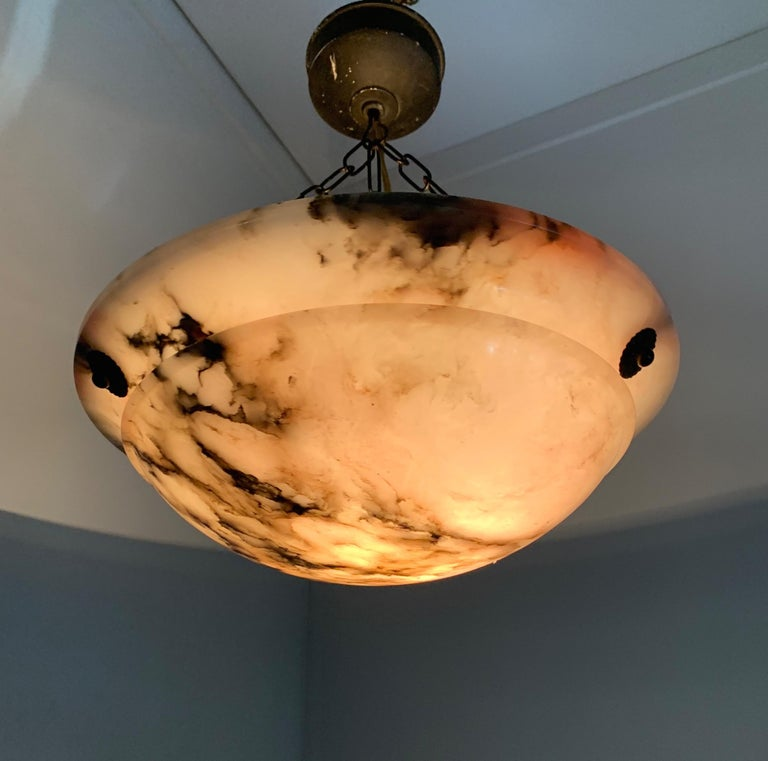 Early 20th Century & Colorful Art Deco Alabaster Pendant Light / Ceiling Fixture For Sale 11