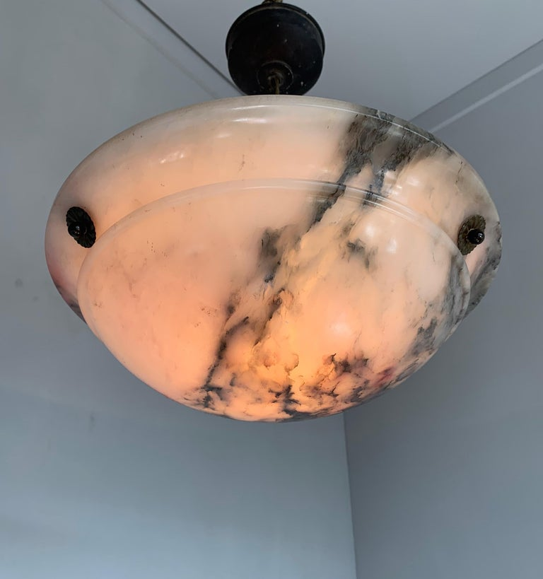 Early 20th Century & Colorful Art Deco Alabaster Pendant Light / Ceiling Fixture For Sale 12