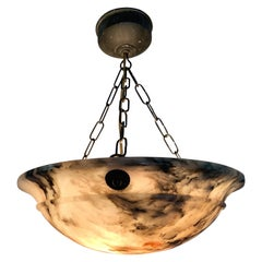 Early 20th Century & Colorful Art Deco Alabaster Pendant Light / Ceiling Fixture