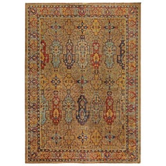 Early 20th Century Colorful Indian Handmade Wool Carpet