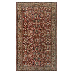 Early 20th Century Colorful Persian Heriz Handwoven Wool Carpet