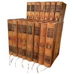 Early 20th Century Complete Set of Fifteen Leather Bound French History Books